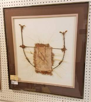 """FRAMED MIXED MEDIA, """"BOW FEATHER COLLAGE"""", SGND, PAT"""