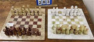 2 CHESS SETS- MARBLE (MISSING 2 PCS.) + ALABASTER