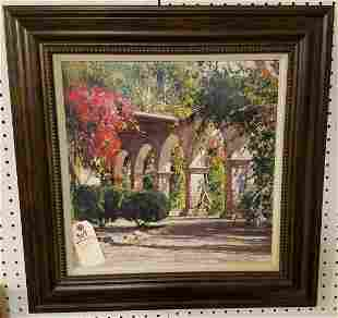 "FRAMED PRINT ON BOARD, ""SUNLIT ARCHWAY"", SGND, CYRUS"