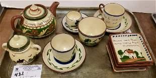 TRAY TORQUAY ENGLAND MOTTOWARE TEA POT, CUPS/SAUCERS,