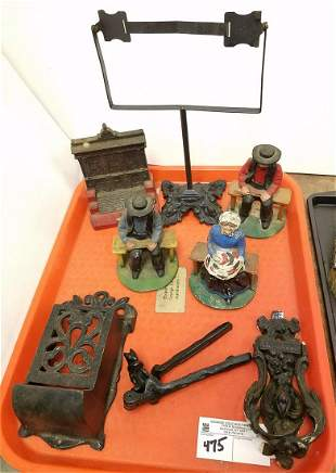 TRAY/ CAST IRON BOOK ENDS, NUT CRACKERS, ETC.