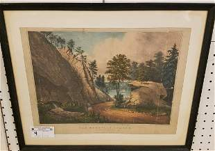 "FRAMED 1863 CURRIER + IVES LITHO, ""THE MOUNTAIN SPRING"""