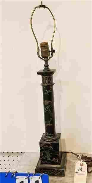 "METAL CHINOISERIE COLUMN LAMP, 27"""