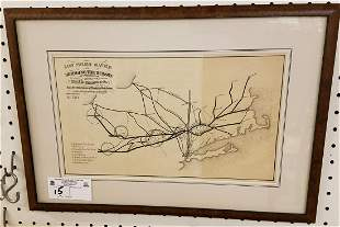 FRAMED 19th c. LITHO, 100 MILES SAVED BY BRIDGING THE