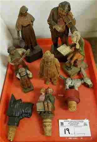 TRAY/ WOOD CARVED FIGURES + MECHANICAL BOTTLE STOPPERS