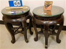 """PR. CHINESE WOODEN STANDS W/ RATTAN TOPS, 20""""H X 15.5"""""""