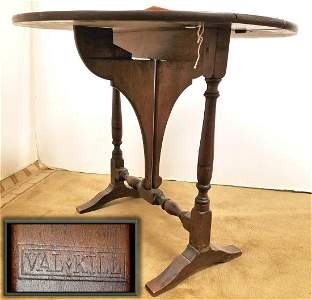 """BUTTERFLY MAPLE DROP LEAF TABLE, STAMPED VAL-KILL, 22""""H"""