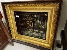 GILT FRAMED 1914 REVERSE PTG. ON GLASS, ( FRAME IS IN