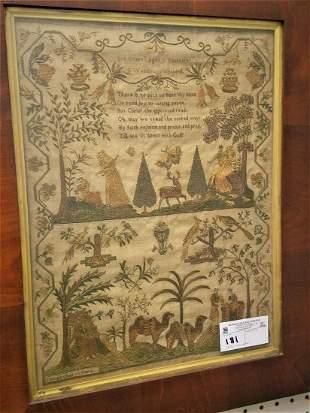 FRAMED 1842 SAMPLER BY ANN CORRELL 12YRS., S.