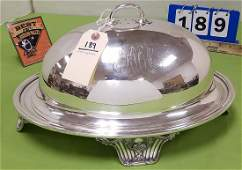 """SILVERPLATE COVERED FOOTED TRAY, 9.5""""H X 16""""W X 12""""D"""