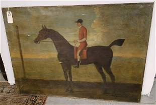 """UNFRAMED c.1890 O/C HORSE + RIDER, UNSIGNED, 34"""" X 48"""""""