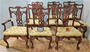 SET 9 CHIPPENDALE STYLE DINING CHAIRS