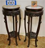 """PR. CHINESE CARVED STANDS W/ MARBLE TOPS, 32""""H X 12.5"""""""