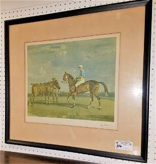 FRAMED PRINT, POLO PLAYERS PENCIL SGND, A.J. MUNNINGS,