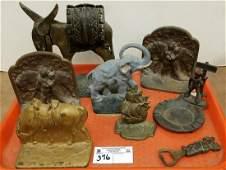 TRAY CAST IRON BOOK ENDS, ELEPHANT DOOR STOP, METAL