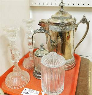TRAY VICT. SILVERPLATE WATER PITCHER, PICKLE CASTOR,