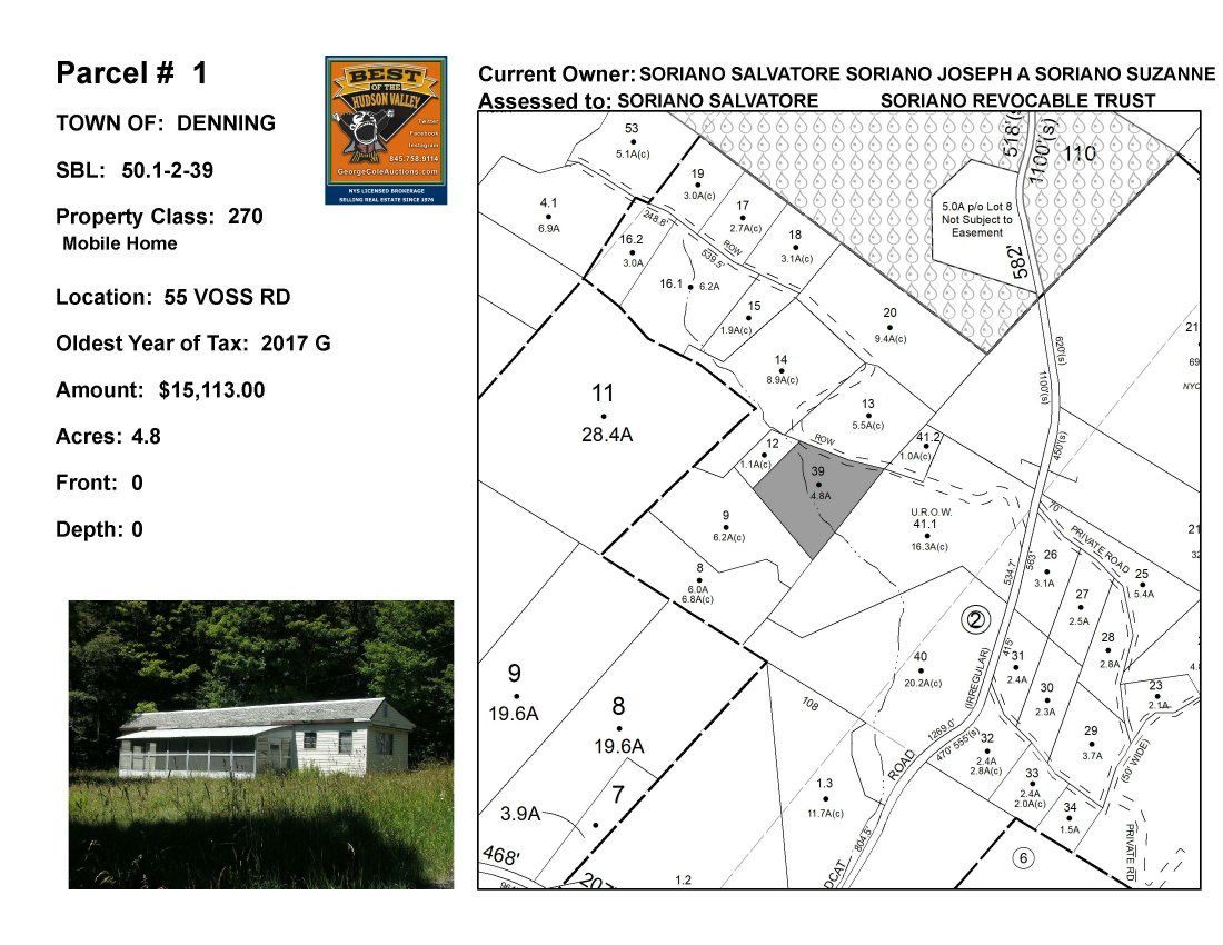 Town of Denning - SBL: 50.1-2-39 - 55 Voss Road
