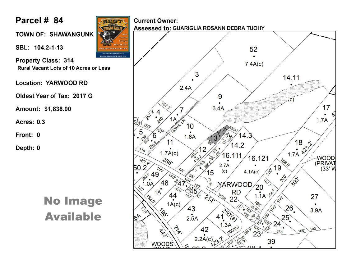 Town of Shawangunk - SBL: 104.2-1-13 - Yarwood Rd
