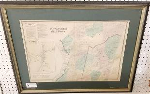FRAMED 19th c. MAP OF PUTNAM VALLEY + PHILIPSTOWN NY,
