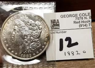 1882 C MORGAN SILVER $
