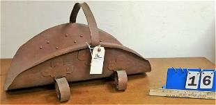 """ARTS & CRAFTS HAMMERED COPPER WOOD BASKET, 12""""H X"""