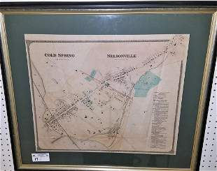 """FRAMED 19th c. MAP OF COLD SPRING/NESONVILLE NY, 19"""" X"""