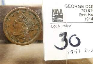 1851 BRAIDED HAIR HALF CENT