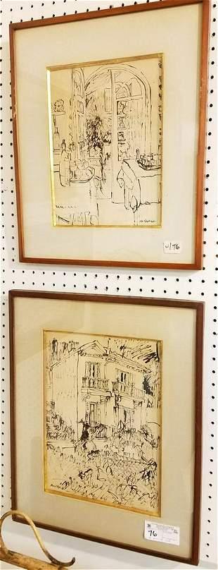 PR. FRAMED PEN + INK DRAWINGS, SGND. MACKENDRICK,
