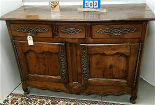 """18th c. FRENCH OAK 3 DRAWER OVER 2 DOOR CABINET, 39""""H X"""