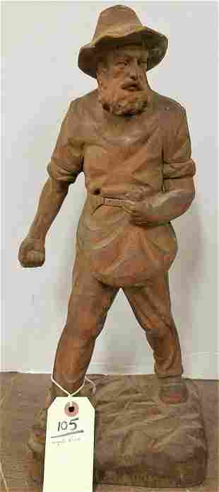 c.1915 CARVED WOODEN FIGURE OF A MAN SOWING SEEDS,