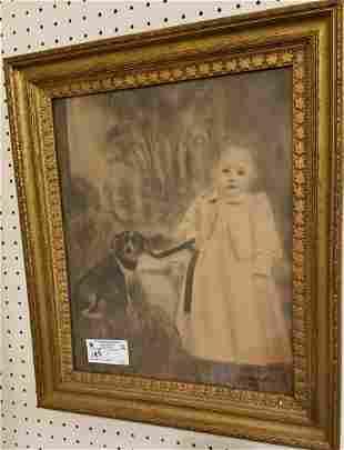 FRAMED CHARCOAL + W/C CHILD W/ DOG SGND. F. COARADINI