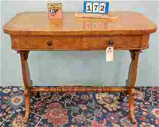 """VICT. FLAME MAPLE 2 DRAWER LIBRARY TABLE, 31""""H X 38""""W X"""