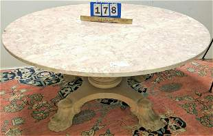 """OAK PED. BASE MARBLE TOP COFFEE TABLE, 18""""H X 42.5"""""""
