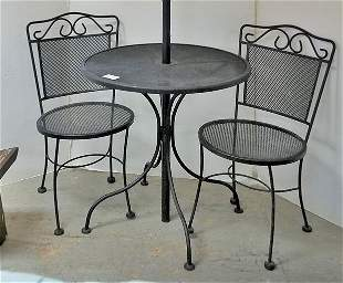 WROUGHT PATIO TABLE & PR CHAIRS