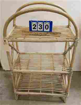 """BAMBOO 3 TIER STAND, 36.5""""H X 22""""W X 13""""D"""