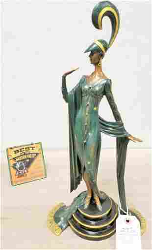 """DECO STYLE COLD PTD. BRONZE FIGURE OF A WOMAN, 17.25"""""""