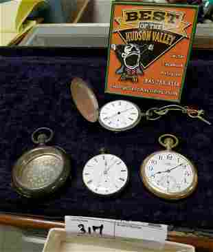 LOT POCKET WATCHES GF BALL WATCH CO.-WORKING, COIN