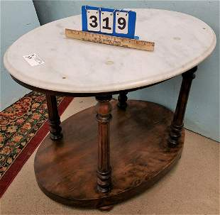 """MARBLE TOP 2 TIER STAND, 24.5""""H X 30.5""""W X 22.5""""D"""