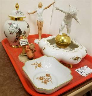 TRAY PORCELAIN HUTSCHENREUTHER BOWL W/ FIGURAL FROG