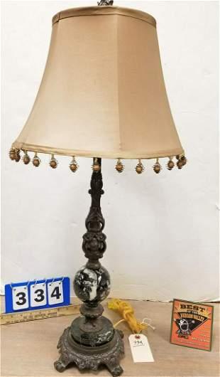 "METAL BASE TABLE LAMP W/ MARBLE MOUNTS 31"""