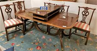 """DUNCAN PHYFE STYLE MAHOG. DOUBLE PED, DINING TABLE 5'8"""""""