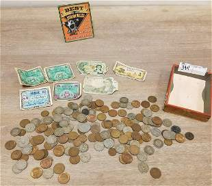 LOT FOREIGN COINS + CURRENCY