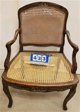 19th c. FR. ARMCHAIR W/ CANE BACK + SEAT