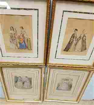 BOX 8 FRAMED ITEMS-LITHOS, HAND COLORED 19th c, LITHOS,