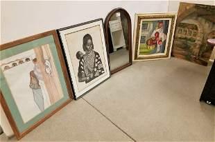 LOT 4PC. ARTWORKS-O/B STILL LIFE, LITHOS-S.W. + AFRICAN
