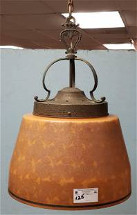 """1920'S ETCHED AMBER SHADE CHANDELIER 22""""H X 16"""" DIAM"""