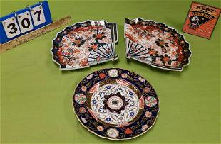 """TRAY 2 IMARI FAN PLATES (1 REPAIRED) 11"""" X 9"""" AND 19TH"""