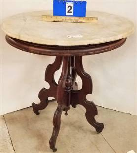 """VICT MARBLE TOP WALNUT TABLE 30""""H X 29""""W X 22 1/2""""D"""