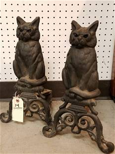 "PR CAST IRON CAT ANDIRONS 17"""