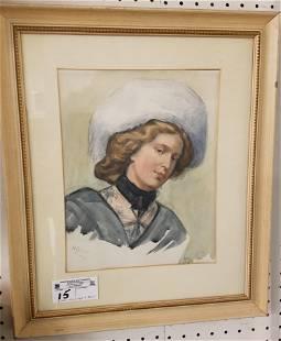 FRAMED C1900 W/C PORTRAIT OF A WOMAN SGND H. ALLIOT 12